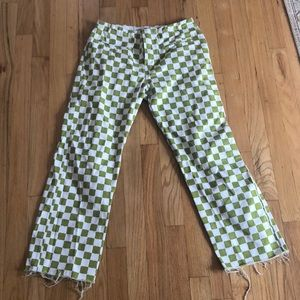 holiday the label check green pants